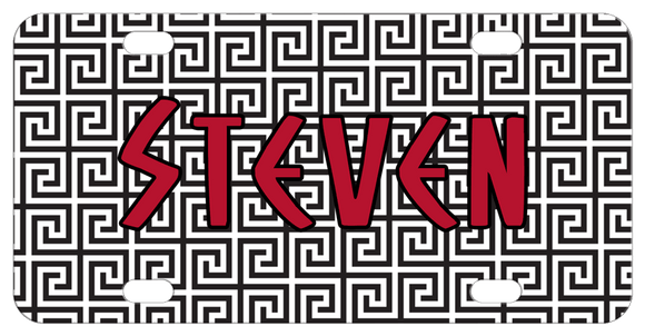 Greek Key Art Deco Background in black and white and any name.