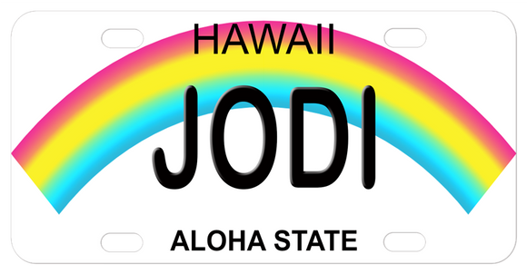 Hawaii curved Rainbow mini license plate with any name in the center.