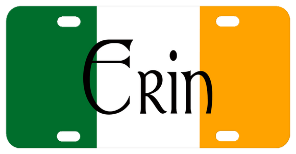 Flag of Ireland - Green - White -  Light Orange background with any name personalized in center