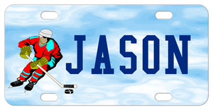 Hockey player pushing puck in the clouds on a custom bike plate with your name