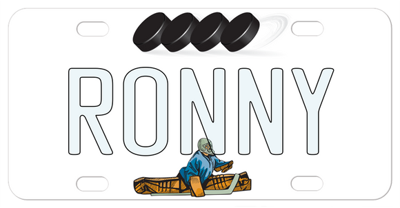 Plate has pucks across the top and a hockey goalie split position on the bottom with any name in the center