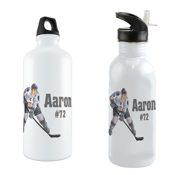 Image of hockey player along with any name and number personalized on a custom water bottle