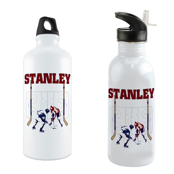 Hockey rink with two players at faceoff on a white water bottle personalized with any name