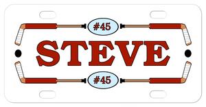 Hockey sticks as a frame to any name and your jersey number in an oval separating the sticks on top and bottom