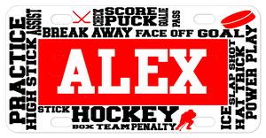 Custom License Plates with Various Hockey Related Terms Randomly Placed going horizontal and vertical on the plate with any name in the center.
