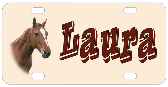 Horse Head on a pale tan license plate with any name great for horse lovers and riders