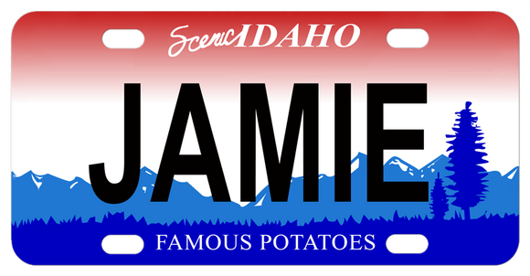 Scenic Idaho famous potatoes with mountains and trees design