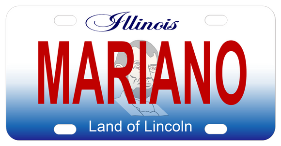Illinois license plate with watermark of Abe Lincolns Head behind the name