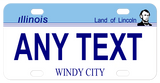 IL mini license plate with small pix of lincoln on right of blue top and white bottom any text personalized