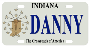 Indiana mini license plate with tan version of the fag with flame, stars, and shape of the state on the left with any name to the right in the center of the plate.