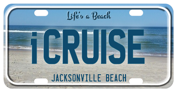 Photo of Jacksonville Beach on a bike plate