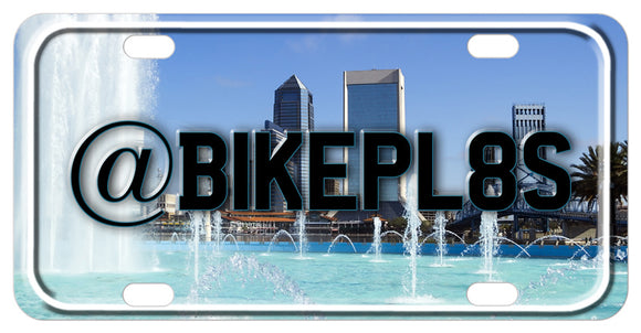 Jacksonville Skyline view from Freedom Fountain Personalized Bike Plates
