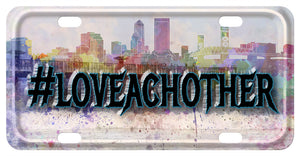 Watercolor Skyline of Downtown Jacksonville. Our Sample says hashtag Love Eachother