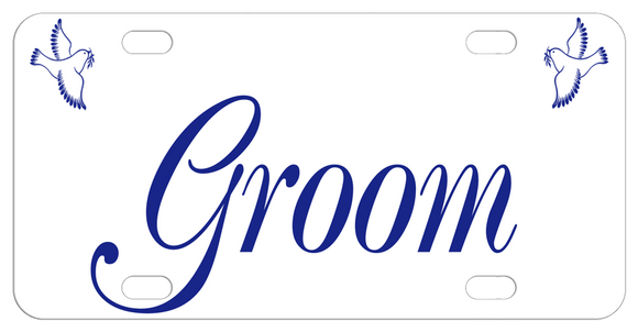 Doves in each top corner and Groom in a script font matching the Bride Doves Plate