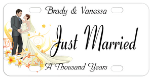 bride and groom standing as if they're dancing caused us to call this the first dance design personalized bike plate with any custom text on top center and bottom such as just married and the couples names and their first dance song name