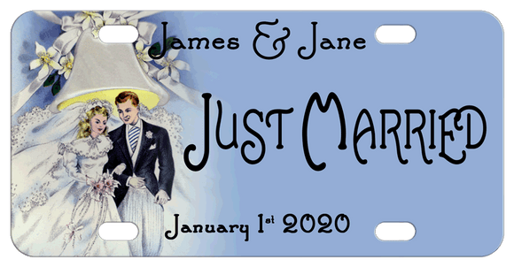 Vintage Wedding Circa 1950's Design Bride, Groom and Wedding Bell license plate with any custom text