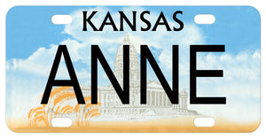 Kansas state capital and wheat from 2001 mini bike plate