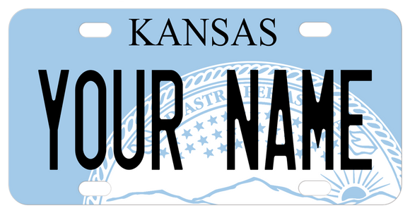Blue plate with white seal of Kansas and personalized with any name on a custom mini license plate novelty gift
