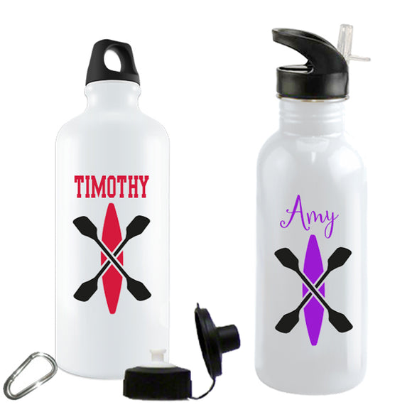 Kayak with cross paddles on a custom water bottle in aluminum or stainless steel