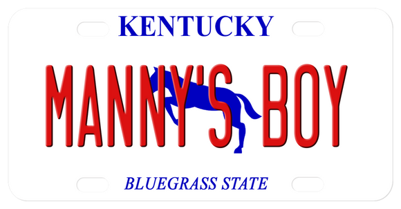 Kentucky mini license plate with blue horse in center and any name. Name will cover portions of the horse. Plate says Kentucky on top and Bluegrass State on bottom