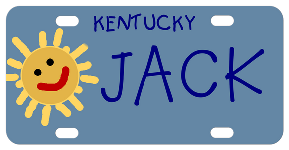 Cartoon drawing of a sun on a blue background. Kids handwriting says Kentucky and any name