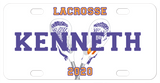 Lacrosse Sticks crossed behind any name on a mini license plate for bikes and atvs or a full size license plate for the front of your car
