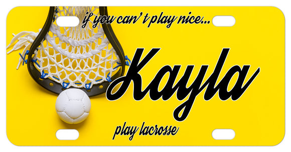 Lacrosse License Plate with yellow background Lacrosse basket and ball, personalized with any name and custom text.