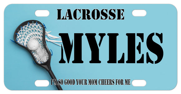 Lacrosse stick and ball on left with any text on top center and bottom on a custom mini license plate