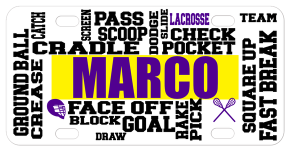 Custom bike plates and car tags with lacrosse terms randomly placed and name in center.