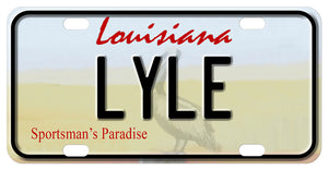 Louisiana shore with pelican custom mini license plate personalized with your name