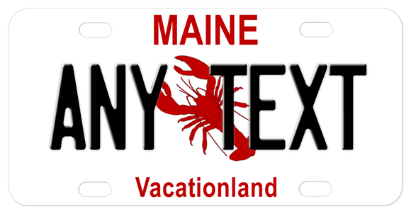 Maine mini bike tag with red lobster in the center any name can be personalized