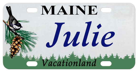 Maine Chickadee and Pine Cone custom license plate personalized with any name. Font shown is Times Italic