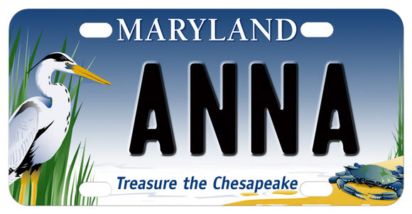 Chesapeake Treasure mini license plate with Heron and Crab. Any name personalized in the center.