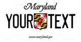 Maryland mini license plate 2004 update of 1986 plate personalized with any text on each side of the centered crest