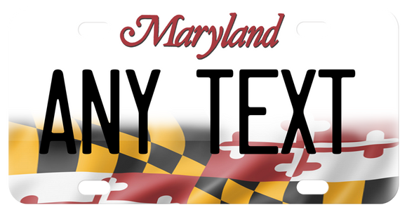 Maryland Flag on bottom of plate gradually disappearing into white on top of the palte