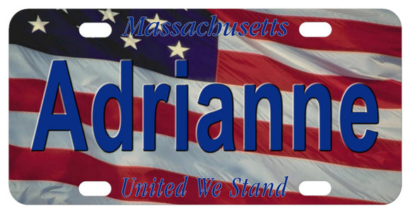 Massachusetts United We Stand U.S. Flag Mini License Plate Personalized with any name