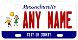 Massachusetts bicycle license plate with a boy, girl and sun, personalize with any name in center and city or county on the bottom