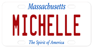 Simple white plate with Massachusetts on top and The Spirit of America on bottom personalized in center with any name or custom text.
