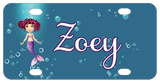 Cute mermaid dressed in purple tail and bra on Left in deep blueish background with bubbles Name in center in script white font with matching purple outline on name