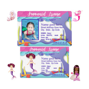 Mermaid licenses for little girls with your choice of 4 mermaid stles