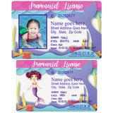 Mermaid licenses for little girls with or without a photo and personalized with your info whether real or made up.
