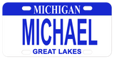 Michigan Bike Plate with Blue Top fashioned after the 2007 state plate