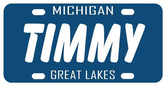 Michigan All Blue License Plate with white text, inspired by the 1983 version of the state's plate. Personalized with your name in the center