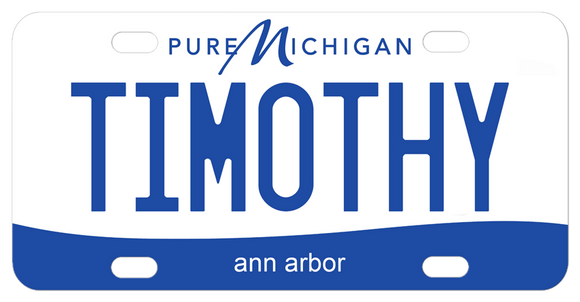 Miniature License Plates with Pure Michigan Design personalized with any name and city or custom text offered in 6 plate sizes
