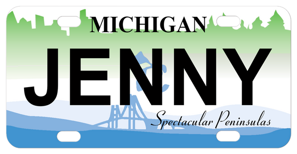 Michigan Spectacular Peninsulas mini license plate personalized with any name