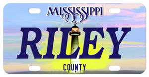Mississippi Mini Personalized License Plate with Lighthouse behind any personalized name. County or custom text on the bottom too.