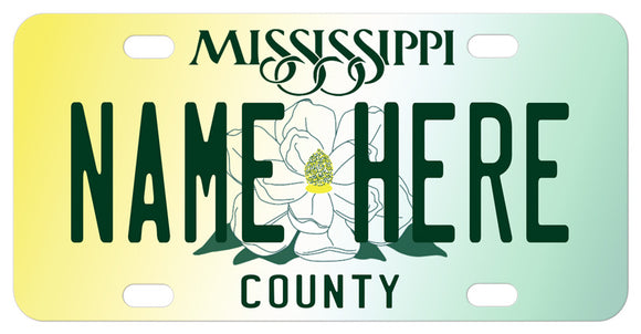 Large Magnolia in the center of soft yellow and green background Mississippi plate with any name