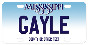 Blue top gradient to white bottom Mississippi personalized license plate for bicycles with your name