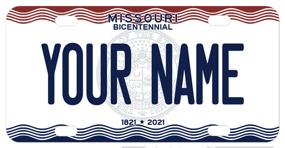Missouri Seal for bicentennial custom mini bicycle license plate with any name