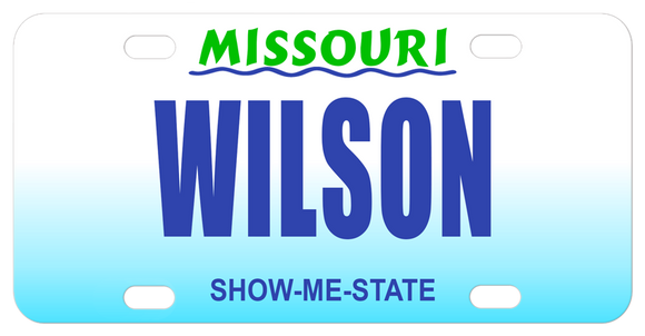 Missouri Show Me mini license plate with any name in the center